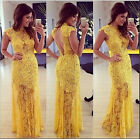 Women Sexy Yellow Backless Lace Prom Ball Cocktail Party Maxi Dress Evening Gown