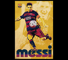 Lionel Messi RETRO SUPERSTAR FC Barcelona 2016 Soccer Wall POSTER
