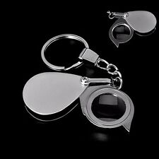 8X Magnifier Folding Pocket Loupe Magnifying Glass Lens With Keychain Portable