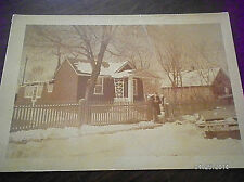 VINTAGE SNAPSHOT.HOUSE WITH 50'S MERCURY IN FRONT.....BLACK & WHITE PHOTO