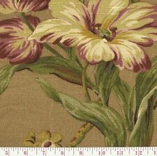 Waverly Isarda Port Beige Purple Green Floral Print Upholstery Fabric BTY