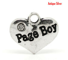 "4 Pc Antique Silver Rhinestone ""Page Boy"" Heart Charms Pendants 16x14mm LC3030"