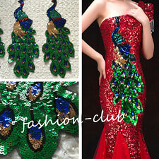 Sequin Paillette Peacock Sewing Applique Patch Sew On Clothes Craft Decoration