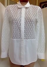 Equipment Shirt White Cotton Blend  Embroidered Lace Print  NWT$240 Xs