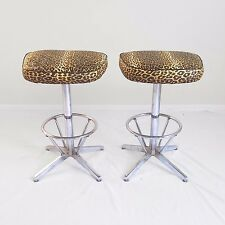 2 mid century modern CHROME & LEOPARD vinyl swivel bar stools counter height mod