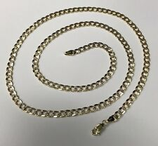 """10K Hollow Yellow Gold Double Side Diamond Cut Curb Chain 24"""" Long"""