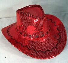 RED SEQUIN COWBOY HAT western hats dance party items novelty ladies sequins new