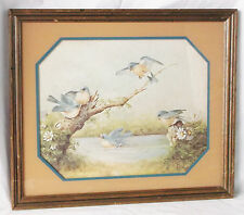 "Vintage ""After A Summer Shower"" Bluebird Picture, 18X16"", Margie Morrow, 1983"