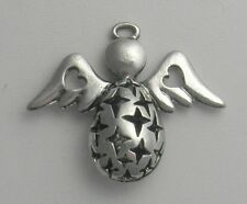 2--  SILVER PLATED ANGEL  PENDANT 29X30MM * FILGREE