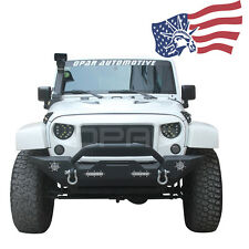 Black Textured Front Bumper Built-in LED Light D-Ring for Jeep Wrangler JK 07-17