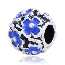 5 White Gold Plated Blue Enamel Flower Lot Charm Bead Fit European Rope Bracelet