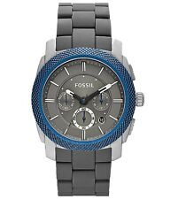 New Fossil Machine Chronograph Date Blue Bezel Men Dress Watch 45mm FS4659 $165