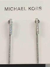 Michael Kors Silver PARK AVENUE Pave' Baguette Linear Drop Earrings MKJ4937 $125