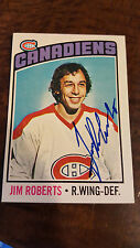 1976-77 OPC SIGNED AUTO CARD JIM ROBERTS MONTREAL CANADIENS BLUES WHALERS # 119