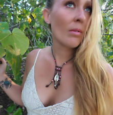 Necklace Choker Cowrie Shell Navy Pink Beads Surf Kuchi Gypsy Festival Aztec