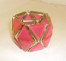 BRAND NAME STRETCH BRACELET GOLD TONE TRIM W/ PINK TRIANGLE PANELS NWOT