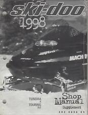 1998 SKI-DOO SNOWMOBILE TUNDRA & TOURING P/N 484 0696 00 SHOP SUPPLEMENT (498)