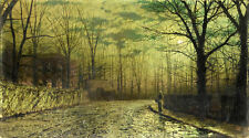 Oil painting John Atkinson Rural road landscape at moonlight house Hand painted