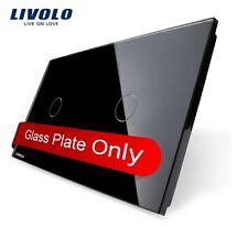 2 Fach Glas Abdeckung für Touch Lichtschalter Livolo Schwarz Kristall Glas