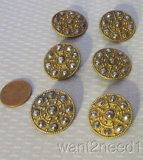 French antique 19C CUT STEEL BUTTON SET 6 stamped brass 25mm