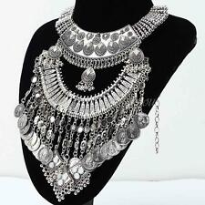 Gypsy Bohemian Vintage Ethnic Tribal Coin Pendant Statement Collar Necklace