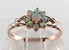 UNUSUAL DAINTY 9K  9CT ROSE GOLD AUS OPAL DAISY ART DECO INS RING FREE RESIZE