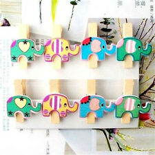 FD1740 Colorful Elephants Wood Lined Clothes Clip Pins Wooden Photo Clips ~8PC A