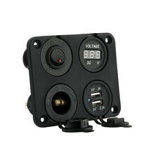 4 Hole Panel+Dual USB Socket+Voltmeter+Power Socket+ ON-OFF Button for Car Boat