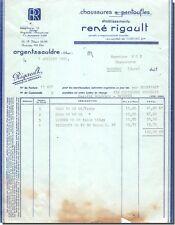 Facture René RIGAULT Chaussures et pantoufles à Argent S/souldre 1961