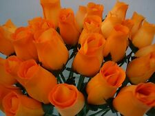 100 ORANGE WOODEN ROSES WHOLESALE ARTIFICIAL FLOWERS WEDDINGS CRAFTS HOME DECOR