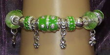 New 925 Sterling Silver Filled and Green Enamel Fashion Charm Bracelet