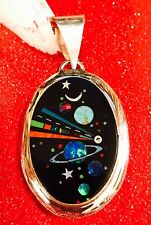 Native American MICRO INLAY Silver Pendant ,Zuni inlay  multiple stones Oval