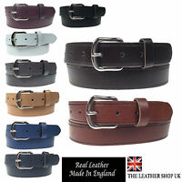 """New Quality Mens Womens 1.25"""" Wide Real Leather 30mm Made In England Belt"""