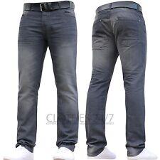 Mens Crosshatch Branded Slim Fit Straight Leg Denim Jeans Pants All Waist Sizes