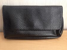 Ladies Black Reptile Patterned Magnetic Clasp Clutch Bag