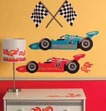 WALLIES GRAND PRIX RACING wall stickers MURAL 39 decals race cars decor flames