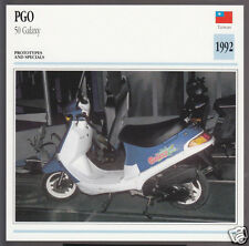 1992 PGO 50cc Galaxy Scooter Moped Taiwan Bike Motorcycle Photo Spec Info Card