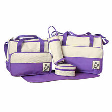 Purple 5pcs Baby Nappy Changing Bag set Mummy Shoulder Handbag Diaper Bag