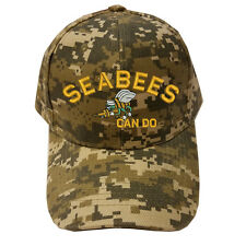 DIGITAL CAMO CAMOUFLAGE SEABEES CAN DO BEE LOGO Military Cap Hat