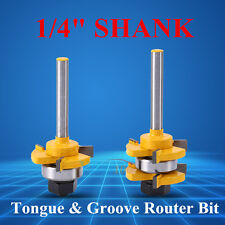 """2Pcs 1/4"""" Shank Tongue Groove Router Bit Woodworking Chisel Milling Cutter Tools"""