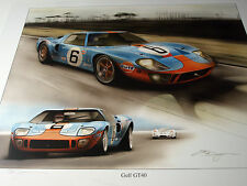 JACKY JACKY ICKX GULF FORD GT40 LE MANS 24 HEURES 1969  SIGNED PRINT OUTSTANDING