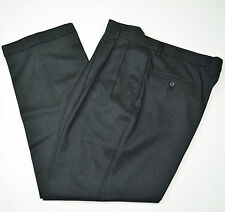 Mint JOS A BANK Windsor Flannel Cashmere Wool Charcoal Pleated Dress Pants 35 31