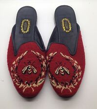 THE LARKSPUR COLLECTION Needlepoint Red Black Bumble Bee Leather Flats 11M Rare!