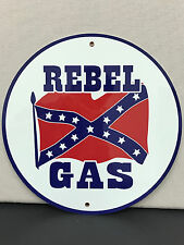 Rebel gas gasoline oil sign man cave advertising  round
