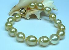 "RARE GOLDEN SOUTH SEA SALTWATER PEARL 14K GOLD BRACELET 8"" BAROQUE 10-13.5mm"