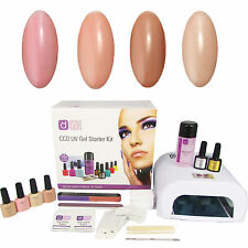 Natural Nudes 4 Colour UV Nail Gel Polish Starter Kit Set with 36W Lamp CCO