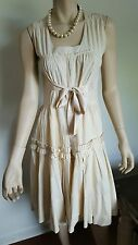 PRADA Italy Beige Cotton Ruffled Dress Sz 38 Authentic