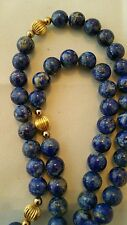 "Vintage LAPIS LAZULI Bead Necklace 21"" Length 8mm Beads"