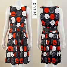 COAST Printed Red and Black Dress with Belt Size 10