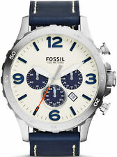 Men's Fossil Nate Chronograph Leather Strap Watch JR1480